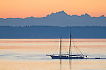 Puget Sound, Schooner Zodiac, Port Townsend, Wooden Boat Festival, leaving harbor, sunrise, Salish Sea, Washington State, Pacific Northwest, United States,