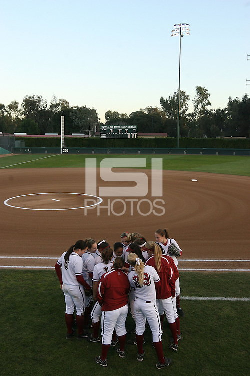 15 February 2008: Stanford Cardinal (not in order) Maddy Coon, Melisa Koutz, Alissa Haber, Ashley Chinn, Missy Penna, Becky McCullough, Autumn Albers, Rosey Neill, Michelle Smith, Erikka Moreno, Erin Howe, Tricia Aggabao, Brittany Minder, Michelle Schroeder, Shannon Koplitz, and Anna Beardman during Stanford's 11-0 win against the Wichita State Shockers in the Stanford Invitational I at the Boyd and Jill Smith Family Stadium in Stanford, CA.