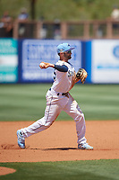 Charlotte Stone Crabs third baseman Zach Rutherford (15) during a Florida State League game against the Dunedin Blue Jays on April 17, 2019 at Charlotte Sports Park in Port Charlotte, Florida.  Charlotte defeated Dunedin 4-3.  (Mike Janes/Four Seam Images)