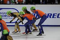 SCHAATSEN: DORDRECHT: Sportboulevard, Korean Air ISU World Cup Finale, 11-02-2012, Relay Men, Satoshi Sakashita JPN (45), Yoshiaki Oguro JPN (44), Freek van der Wart NED (63), Daan Breeuwsma NED (59), ©foto: Martin de Jong