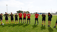 20180301 - LARNACA , CYPRUS :  Belgian staff pictured with assistant coach Kris Van Der Haegen , physical trainer Gil Benedetti , Head coach Ives Serneels and goalkeeper coach Sven Cnudde during a Matchday -1 training from The Belgian Red Flames prior to their game against Spain , on Thursday 1 March 2018 at the Alpha Sports Grounds in Larnaca , Cyprus . This will be the second game in group B for Belgium during the Cyprus Womens Cup , a prestigious women soccer tournament as a preparation on the World Cup 2019 qualification duels. PHOTO SPORTPIX.BE | DAVID CATRY