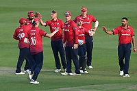 Jamie Porter of Essex celebrates with his team mates after taking the wicket of Sean Dickson during Essex Eagles vs Kent Spitfires, Royal London One-Day Cup Cricket at The Cloudfm County Ground on 6th June 2018
