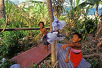 Children having fun playing tetherball, Yap Micronesia