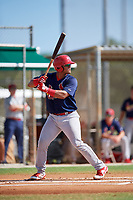 GCL Cardinals catcher Ivan Herrera (32) at bat during a game against the GCL Marlins on August 4, 2018 at Roger Dean Chevrolet Stadium in Jupiter, Florida.  GCL Marlins defeated GCL Cardinals 6-3.  (Mike Janes/Four Seam Images)