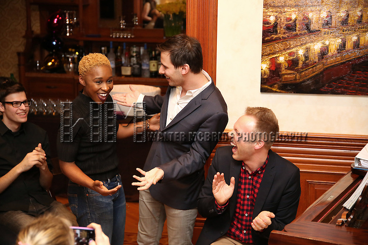 Cynthia Erivo, Benj Pasek and Justin Paul during the Dramatists Guild Fund intimate salon with Benj Pasek and Justin Paul at the home of Kara Unterberg on March 7, 2016 in New York City.