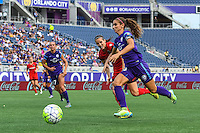 Orlando, FL - Sunday June 26, 2016: Katherine Reynolds, Alex Morgan  during a regular season National Women's Soccer League (NWSL) match between the Orlando Pride and the Portland Thorns FC at Camping World Stadium.