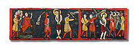 Romanesque painted Beam depicting The Passion and the Stations of the Cross<br /> <br /> Around 1192-1220, Tempera on wood from Catalonia, Spain.<br /> <br /> Acquisition of Museums Board's campaign in 1907. MNAC 15833.<br /> <br /> It is not known what was the original location of the beam, but it might have been part of the structure of a canopy. In any case, it was reused in a ceiling, as evidenced by the cuts that are at the top. It is decorated with seven scenes from the Passion and Resurrection of Christ, this scene shows Christ being whipped and carrying the cross on the road to Calvary. The narrative character in the images and the predominance of yellow is typical of Catalan painting of the 1200&rsquo;s,  specifically with illustrations of Liber Feudorum Maior, a late twelfth-century illuminated cartulary book style of the Crown of Aragon