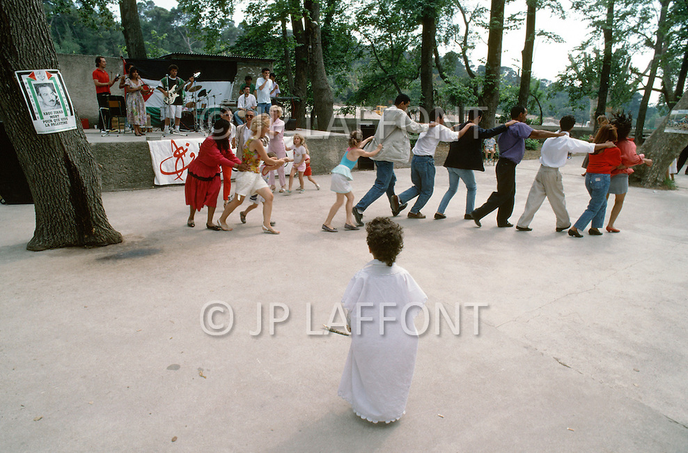 May 1989, Septem Les Vallons, Near Marseille, France. Meeting of Club Arab Union of France, recreation time. --- Image by © JP Laffont
