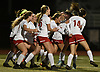 Wheatley teammates celebrate after a goal by Samantha Rothstein #14 tied Cols Spring Harbor at 1-1 with three minutes remaining in the Nassau County varsity girls soccer Class B final at Bethpage High School on Monday, Oct. 29, 2018.