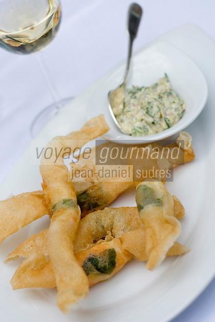 Europe/France/Bretagne/56/Morbihan/Quiberon:Papillote de langoustines sauce tartare  Patrick Barbin chef du Sofitel Thalassa