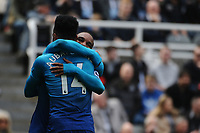 Alexandre Lacazette of Arsenal celebrates scoring the opening goal of the game during Newcastle United vs Arsenal, Premier League Football at St. James' Park on 15th April 2018