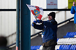 Portsmouth fan celebrating. Oldham v Portsmouth League 1