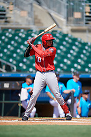 Washington Nationals Gilbert Lara (10) at bat during an Instructional League game against the Miami Marlins on September 25, 2019 at Roger Dean Chevrolet Stadium in Jupiter, Florida.  (Mike Janes/Four Seam Images)