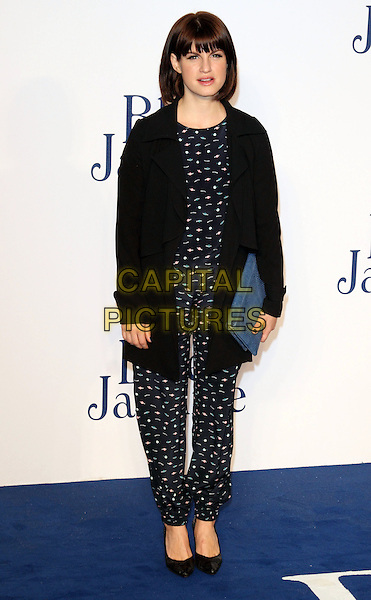 Jemima Rooper<br /> UK Premiere of 'Blue Jasmine' at the Odeon West End, Leicester Square. London, England.<br /> 17th September 2013<br /> full length black jacket blue pattern jumpsuit clutch bag<br /> CAP/ROS<br /> &copy;Steve Ross/Capital Pictures