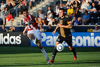 Alan Gordon (16) of CD Chivas USA takes a shot. The Philadelphia Union defeated CD Chivas USA 3-0 during a Major League Soccer (MLS) match at PPL Park in Chester, PA, on September 25, 2010.