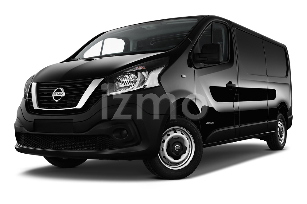 Stock pictures of low aggressive front three quarter view of 2017 Nissan NV300 Optima 4 Door Cargo Van Low Aggressive
