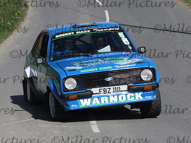 JT Warnock - Sharon Darroch in a Ford Escort Mk 2 near Junction 4 on Special Stage 1 Loughries Village of the Discover Northern Ireland Circuit of Ireland Rally which was a constituent round of  the FIA European Rally Championship, the FIA Junior European Rally Championship, the Clonakilty Irish Tarmac Rally Championship, and the MSA ANICC Northern Ireland Stage Rally Championships which took place on 18.4.14 and 19.4.14 and was based in Belfast.