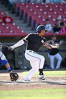 Luke Tendler (4) of the High Desert Mavericks bats against the Rancho Cucamonga Quakes at Heritage Field on August 7, 2016 in Adelanto, California. Rancho Cucamonga defeated High Desert, 10-9. (Larry Goren/Four Seam Images)