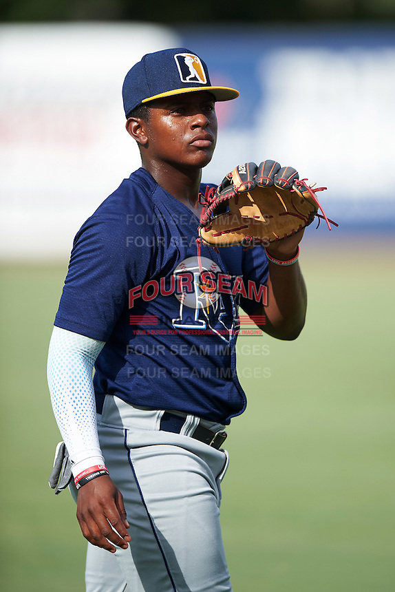 DeAndre Shelton (7) of Archbishop McCarthy High School in Winter Garden, Florida playing for the Tampa Bay Rays scout team during the East Coast Pro Showcase on August 3, 2016 at George M. Steinbrenner Field in Tampa, Florida.  (Mike Janes/Four Seam Images)