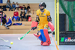 Mannheim, Germany, December 01: During the Bundesliga indoor women hockey match between Mannheimer HC and Nuernberger HTC on December 1, 2019 at Irma-Roechling-Halle in Mannheim, Germany. Final score 7-1. (Copyright Dirk Markgraf / 265-images.com) *** Leah Loersch #14 of Mannheimer HC