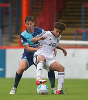 Luca Wightman of Aldershot Town & Joe Jacobson of Wycombe Wanderers during the pre season friendly match between Aldershot Town and Wycombe Wanderers at the EBB Stadium, Aldershot, England on 22 July 2017. Photo by Andy Rowland.