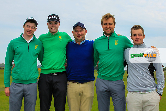 Stuart Grehan, Robin Dawson, Gary Murphy, Jonathan Yates and Jack Hume during the Flogas Irish Amateur Open Championship Am-Am at Royal Dublin on Monday 9th May 2016.<br /> Picture:  Thos Caffrey / www.golffile.ie