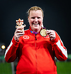 Lima, Peru -  27/August/2019 -  Jennifer Brown takes the gold medal in the women's discus F38 at the Parapan Am Games in Lima, Peru. Photo: Dave Holland/Canadian Paralympic Committee.