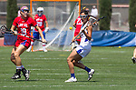 Torrance, CA 05/11/13 - Grace Schmidt-Beck (Los Alamitos #19) and Jackie Adelsberg (Agoura #12) during the 2013 Los Angeles/Orange County Championship game between Los Alamitos and Agoura.  Los Alamitos defeated Agoura 19-4.