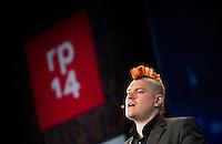Berlin, Blogger, Autor und Journalist Sascha Lobo am Dienstag (06.05.2014) bei der Internetkonfenenz Re:publica. Foto: Steffi Loos/CommonLens