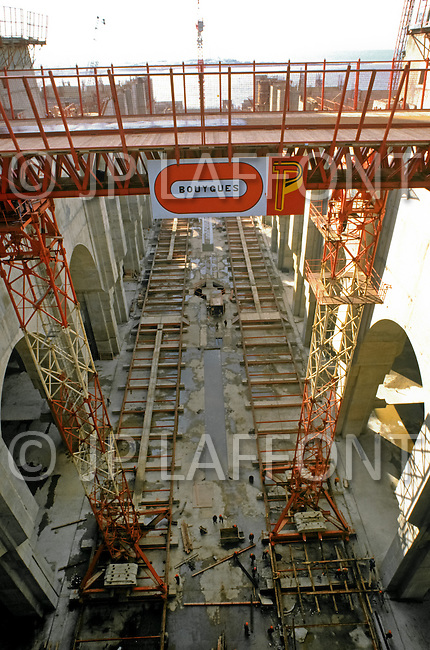 March 5, 1989, Casablanca, Morocco. Scaffolds in the construction site of the Hassan II Mosque. The mosque was completed in 1993.