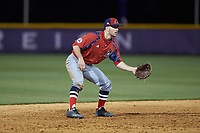 NJIT Highlanders shortstop Justin Etts (12) on defense against the High Point Panthers at Williard Stadium on February 18, 2017 in High Point, North Carolina. The Highlanders defeated the Panthers 4-2 in game two of a double-header. (Brian Westerholt/Four Seam Images)
