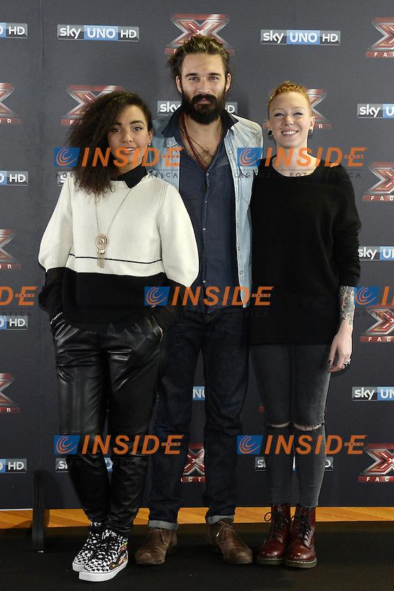 Db Milano 26/10/2016 - photocall trasmissione Tv 'X-Factor' / foto Daniele Buffa/Image/Insidefoto <br /> nella foto: Alessandra Fortes Silva-Andrea Biagioni-Eva Pevarello