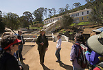 Ranger led tour of Angel Island State Park, San Francisco Bay, CA, California, the Immigration Station where 175,000 Chinese were processed 1910-1940, with the Barracks now being restored, and poignant poetry of the detainees on the walls preserved.  Sometimes called the Ellis Island of the West..Photo camari234-70509..Photo copyright Lee Foster, www.fostertravel.com, 510-549-2202, lee@fostertravel.com.