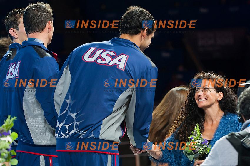 Team USA gold medal<br /> Men's 200m freestyle relay final<br /> 15th FINA World Aquatics Championships<br /> Palau Sant Jordi, Barcelona (Spain) 02/08/2013 <br /> &copy; Giorgio Perottino / Deepbluemedia.eu / Insidefoto