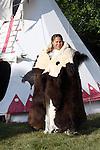 Native American Indian woman standing tipi buffalo hide blanket female fur robe Lakota Sioux Greifenhagen 468-2311 MR387i 388u