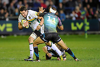 Phil Dowson of Northampton Saints forces his way through Eli Walker of Ospreys during the LV= Cup second round match between Ospreys and Northampton Saints at Riverside Hardware Brewery Field, Bridgend (Photo by Rob Munro)