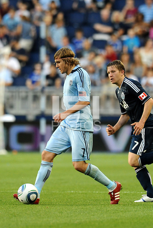 Chance Myers (7) Sporting KC defender in action... Sporting KC defeated Vancouver Whitecaps 2-1 at LIVESTRONG Sporting Park, Kansas City, Kansas.