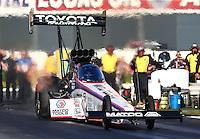 Feb 8, 2015; Pomona, CA, USA; NHRA top fuel driver Antron Brown during the Winternationals at Auto Club Raceway at Pomona. Mandatory Credit: Mark J. Rebilas-USA TODAY Sports