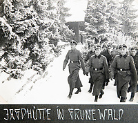 BNPS.co.uk (01202 558833)<br /> Pic: Jones&Jacob/BNPS<br /> <br /> 'Hunting lodge in the Green wood' - The LSSAH in the Grunewald west of Berlin in winter.<br /> <br /> Springtime for Hitler...Chilling album of pictures taken by one of Hitlers bodyguards illustrates the Nazi dictators rise to power.<br /> <br /> An unseen album of photographs taken by a member of Hitlers own elite SS bodyguard division in the years leading up to the start of WW2.<br /> <br /> The 1st SS Panzer Division 'Leibstandarte SS Adolf Hitler' or LSSAH began as Adolf Hitler's personal bodyguard in the 1920's responsible for guarding the Führer's 'person, offices, and residences'.