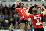 Rüsselsheim, Germany, April 13: Dominique Lamb #2 of the Rote Raben Vilsbiburg spikes the ball during play off Game 1 in the best of three series in the semifinal of the DVL (Deutsche Volleyball-Bundesliga Damen) season 2013/2014 between the VC Wiesbaden and the Rote Raben Vilsbiburg on April 13, 2014 at Grosssporthalle in Rüsselsheim, Germany. Final score 0:3 (Photo by Dirk Markgraf / www.265-images.com) *** Local caption ***