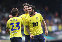 Blackburn Rovers' Bradley Dack celebrates scoring his side's second goal <br /> <br /> Photographer Rachel Holborn/CameraSport<br /> <br /> The EFL Sky Bet Championship - Ipswich Town v Blackburn Rovers - Saturday 4th August 2018 - Portman Road - Ipswich<br /> <br /> World Copyright &copy; 2018 CameraSport. All rights reserved. 43 Linden Ave. Countesthorpe. Leicester. England. LE8 5PG - Tel: +44 (0) 116 277 4147 - admin@camerasport.com - www.camerasport.com