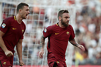 Calcio, Serie A: Roma, stadio Olimpico, 28 maggio 2017.<br /> AS Roma's Daniele De Rossi celebrates after scoring with his teammate Edin Dzeko during the Italian Serie A football match between AS Roma and Genoa at Rome's Olympic stadium, May 28, 2017.<br /> Francesco Totti's final match with Roma after a 25-season career with his hometown club.<br /> UPDATE IMAGES PRESS/Isabella Bonotto