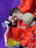 Germany's figure skater Paul Fentz sits next to his trainer Romy Oesterreich in the Gangneung Ice Arena at the Winter Olympics in Pyeongchang, South Korea, 9 February 2018. Photo: Peter Kneffel/dpa /MediaPunch ***FOR USA ONLY***