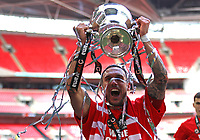 Liam Hogan of Salford City with the trophy after the AFC Fylde vs Salford City, Vanarama National League Play-Off Final Football at Wembley Stadium on 11th May 2019