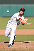 Scottsdale Scorpions pitcher David Carpenter #66 delivers a pitch during an Arizona Fall League game against the Surprise Saguaros at Scottsdale Stadium on October 31, 2011 in Scottsdale, Arizona.  Surprise defeated Scottsdale 8-5.  (Mike Janes/Four Seam Images)