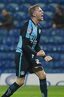 Wycombe Wanderers Jason McCarthy shows his delight after Aaron Amadi-Holloway had put the visitors 2-0 ahead during the Sky Bet League 2 match between Mansfield Town and Wycombe Wanderers at the One Call Stadium, Mansfield, England on 31 October 2015. Photo by Garry Griffiths.