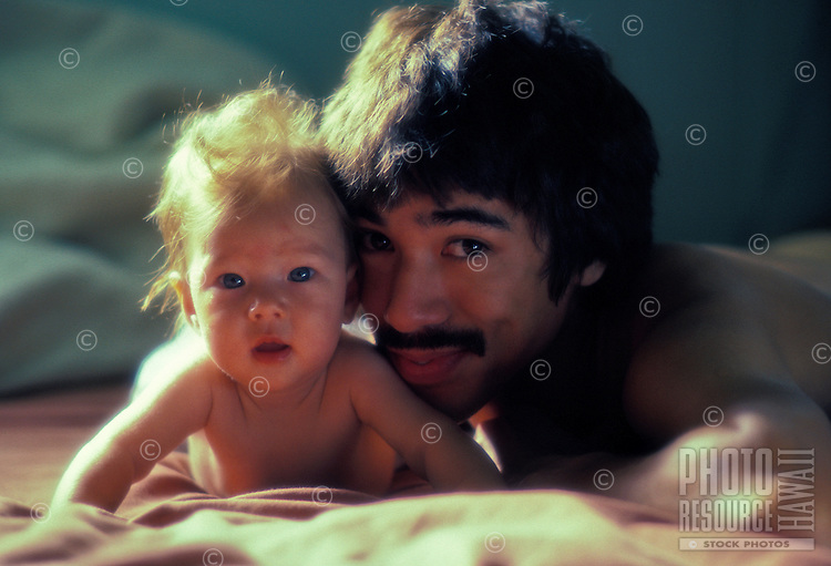 A father and child of Japanese and Caucasian ancestry