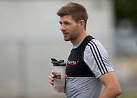Carson, CA. - Tuesday, July 7, 2015: Newly acquired LA Galaxy DP Steven Gerrard trains with his new club at StubHub Center.