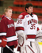 Nathan Potvin joined the Harvard Crimson on the ice for the national anthem. Potvin was adopted by the team via Friends of Jaclyn Foundation.  More info - http://gocrimson.com/sports/mice/2010-11/releases/110114_nathan - The Harvard University Crimson defeated the visiting Colgate University Raiders 6-2 (2 EN) on Friday, January 28, 2011, at Bright Hockey Center in Cambridge, Massachusetts.