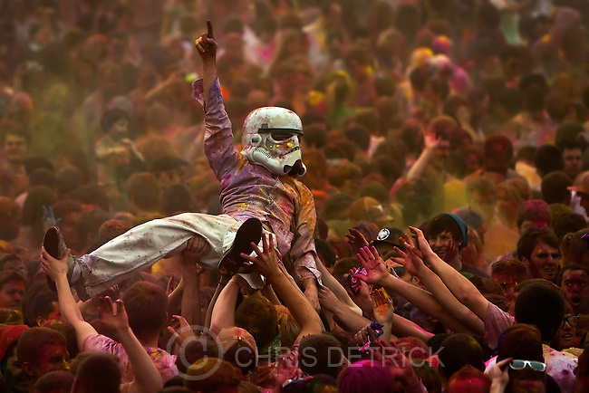 A reveler dressed as a Stormtrooper crowd surfs during the annual Holi Festival of Colors at the Sri Sri Radha Krishna Temple in Spanish Fork Saturday March 26, 2011.  One of the most important Hindu holidays of the year, Holi is a celebration to rejoice in the coming of spring and in the victory of good over evil. An estimated 50,000 people from Utah County and Brigham Young University attended the two-day event.